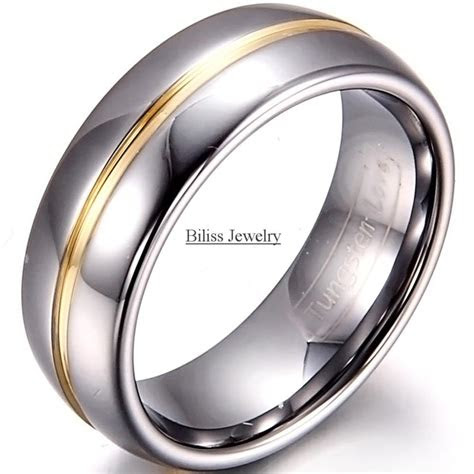 mm width mens gold inset tungsten carbide ring aniversary