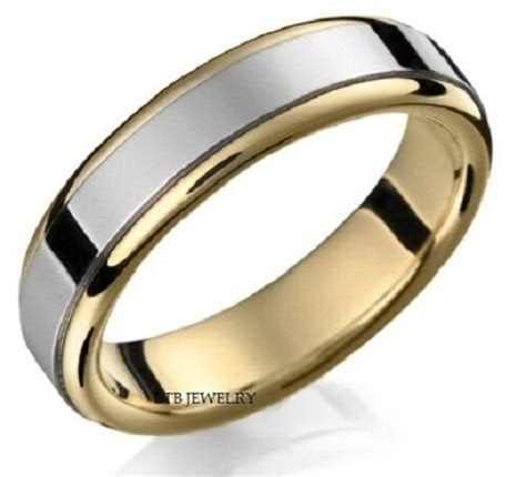 10K TWO TONE GOLD MENS WEDDING BANDS,SHINY FINISH 6MM