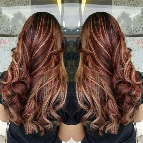brilliant brown hair  red highlights