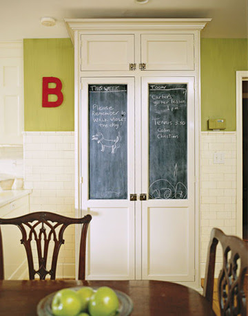Some chalkboard paint on the windows of a china cabinet and you could get this look!