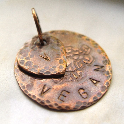 V for Vegan pendant