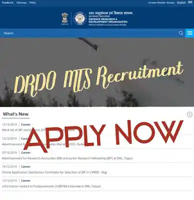 Defence Research development organisation (DRDO) MTS Recruitment Apply Now