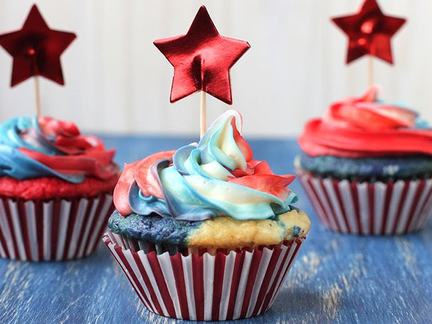 Red, White and Tie-Dyed Cupcakes