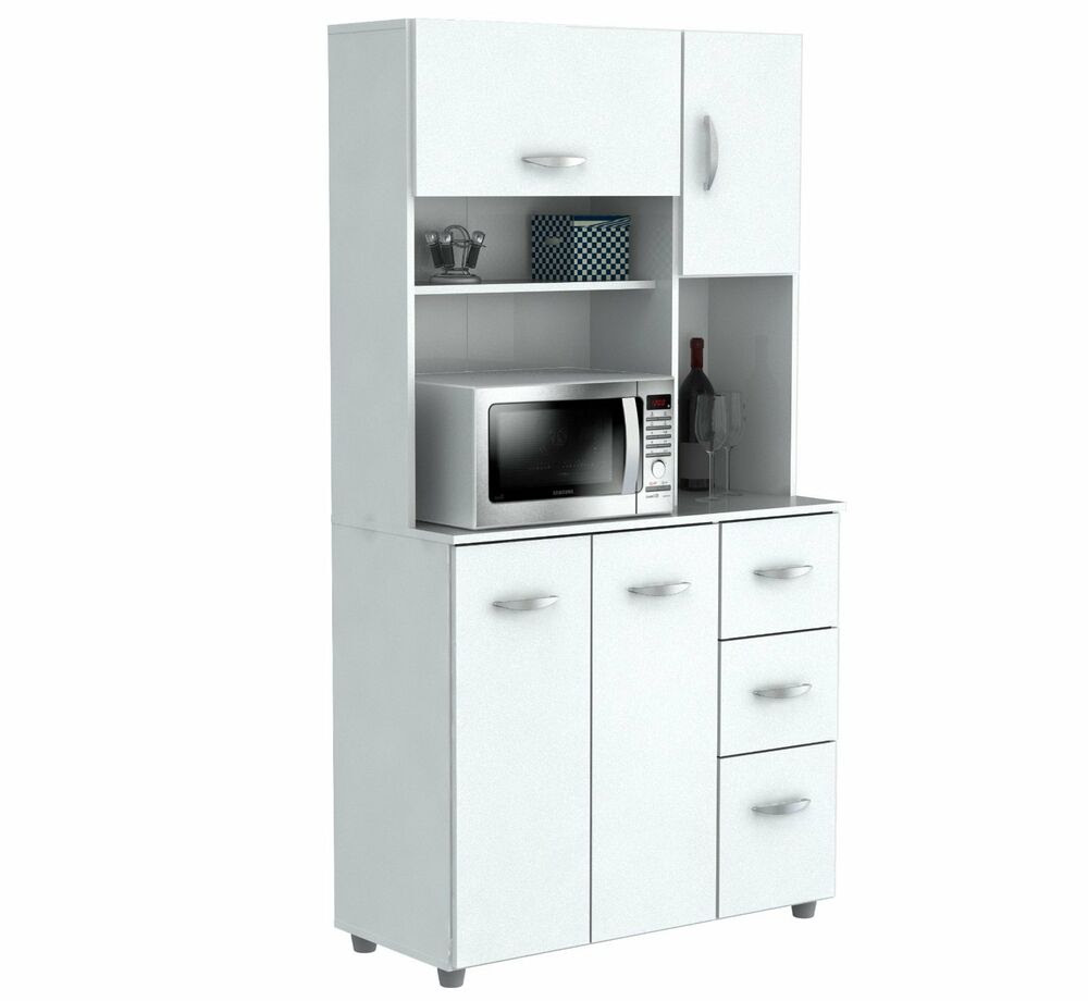 Inval America 4 Door Storage Cabinet with Microwave Cart ...