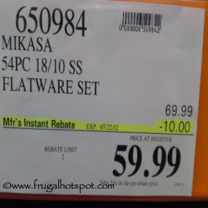Costco Sale: Mikasa 54 Piece 18/10 SS Flatware Set $59.99 | Frugal