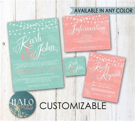 Mint & Coral Wedding Invitations   Invitation Kit, Thank