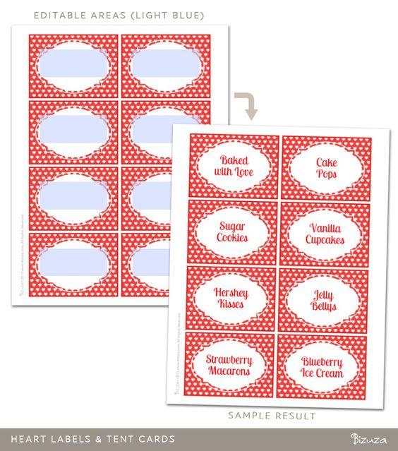 Printable Heart Design Labels, Editable PDF   Printable   Bizuza ...