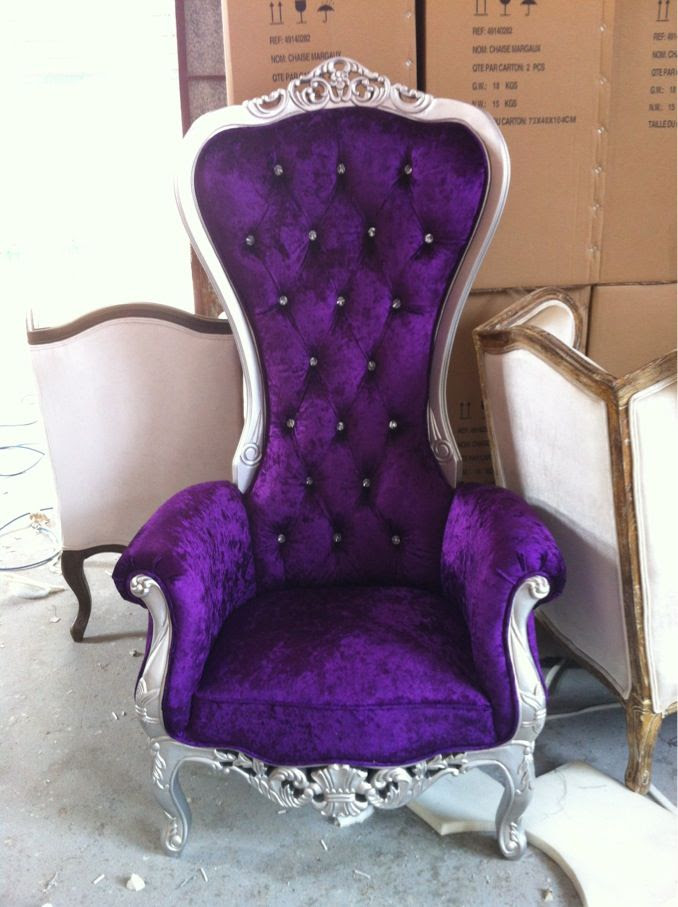THIS IS THE CHAIR THAT I WANT IN MY DRESSING ROOM!!! The Kings Chair - Throne - (Purple/Silver)