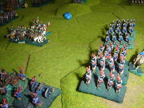 French advance in the centre supported by artillery