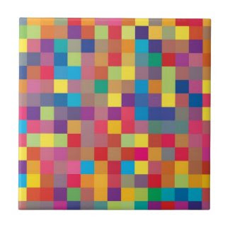 Pixel Rainbow Square Pattern Ceramic Tiles