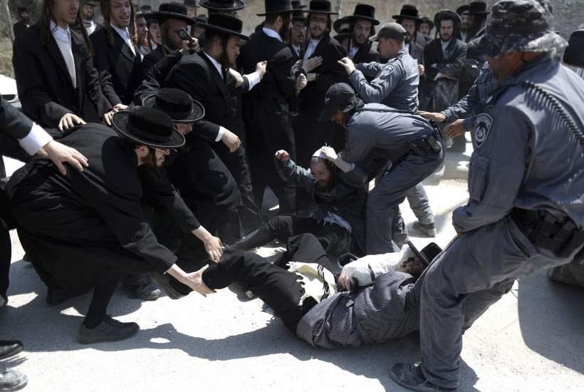 Protesta de los judíos ultra-ortodoxos