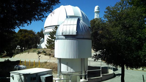Another photo I took of Mount Wilson Observatory's CHARA array interferometer (foreground), the 60-inch telescope and a 150-foot solar telescope (background) on March 24, 2016.