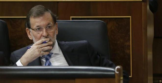 El presidente del Gobierno en funciones, Mariano Rajoy, en su escaño del Congreso. Archivo EFE