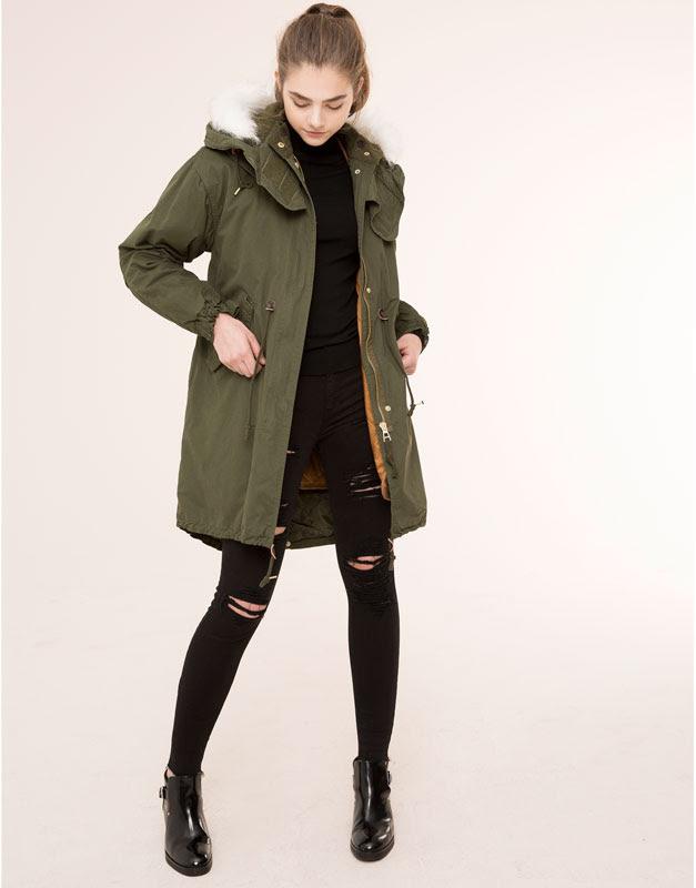 Pull&Bear - mujer - abrigos y parkas - parka larga capucha pelo - kaki - 09715318-I2015