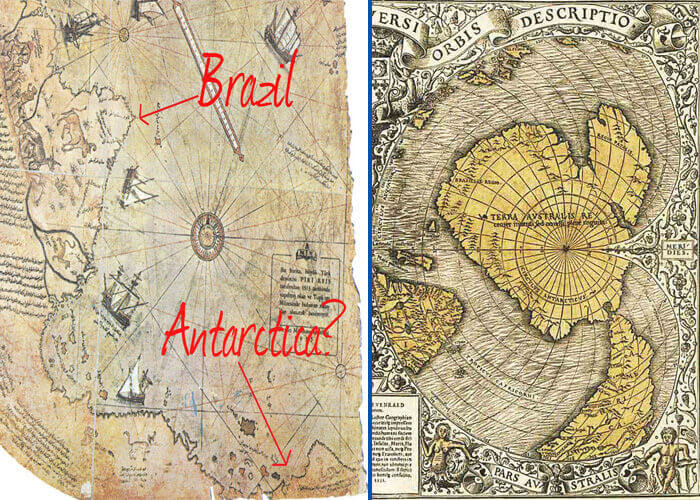 A la izquierda, parte de Piri Reis; a la derecha parte del mapa Oronteus Finaeus, mostrando ambos la región de la Antártida libre de hielo.