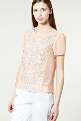 Warehouse Lace Panel Top