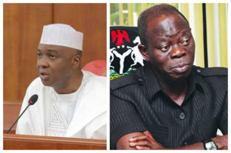 Image result for images of Oshiomole vs saraki