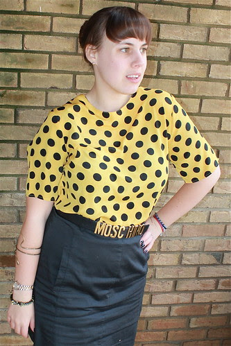 Black and yellow outfit: thrifted blouse, The Limited A-line skirt, wool tights, Modcloth quilted flats, snake bracelet, vintage Moschino belt