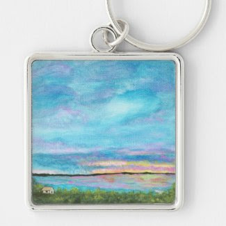 Good Morning From Original Abstract Painting Large Key Chains