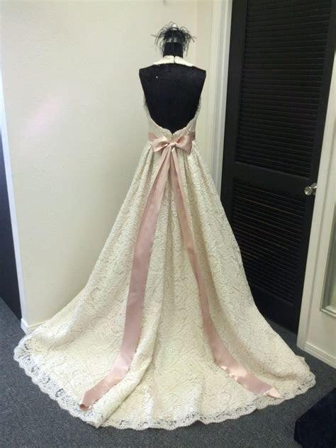 Lace Halter Wedding Dress With Pink Sash By BellaVittoria