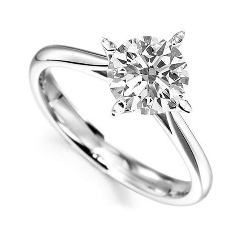 Flared 4 Claw Round Diamond Engagement Ring