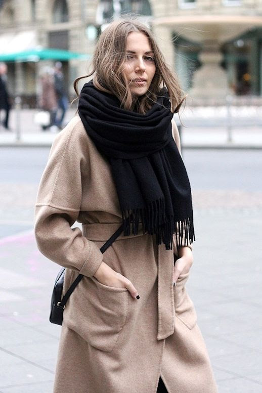 Le Fashion Blog Blogger Style Acne Studios Oversized Scarf With Fringe Belted Camel Coat Via Fashion And Style