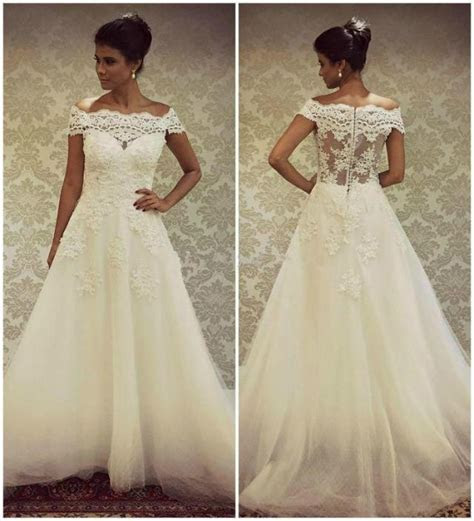 Real Image 2015 Wedding Dresses With Bateau Neck Lace