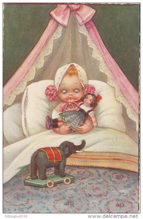 SPARK Chiky. CPA. Fillette Avec Poupée, Dans Son Lit, épouvantée Par L'éléphant En.. Jouet !..Avec Timbre + Tampon 1930. - Spark, Chicky