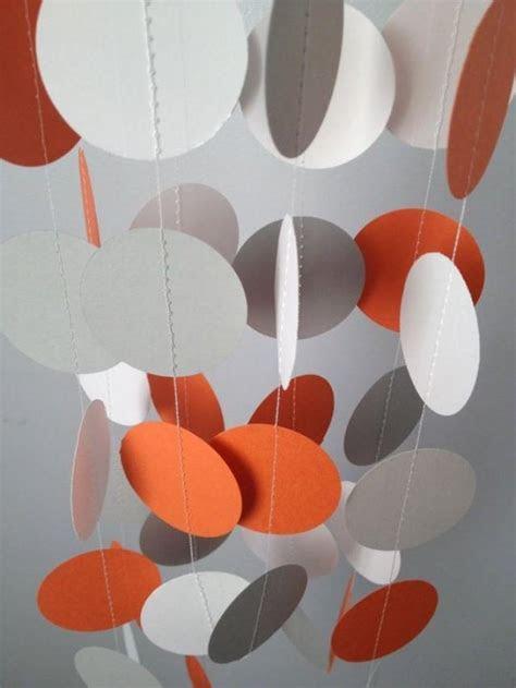 Orange, Gray, White 12 Ft Circle Paper Garland  Party