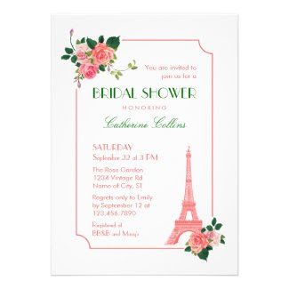 Eiffel Tower and Roses Bridal Shower Invitation