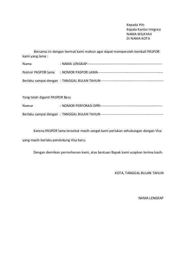 Contoh Surat Kuasa Pembuatan Visa Bahasa Inggris Contohard