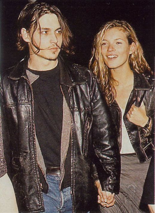 LE FASHION BLOG JOHNNY DEPP KATE MOSS JOHNNY AND KATE INSPIRATION LEATHER MOTO JACKET WHITE SHIRT WAVY LONG HAIR MAXI SKIRT 27