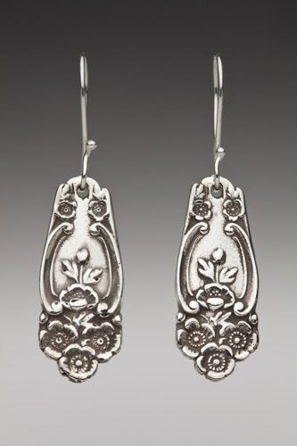 Silver Spoon Jewelry: Vintage Spoon and Fork Jewelry: Lady Helen Demitasse Spoon Earrings