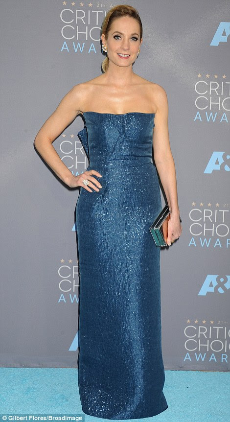 March of the blue belles: Joanne Froggatt (L) and January Jones wore blue dresses in very different ways
