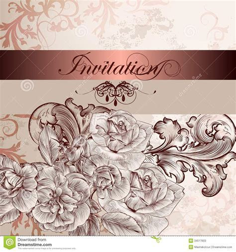 Wedding Invitation Card With Flowers For Design Stock