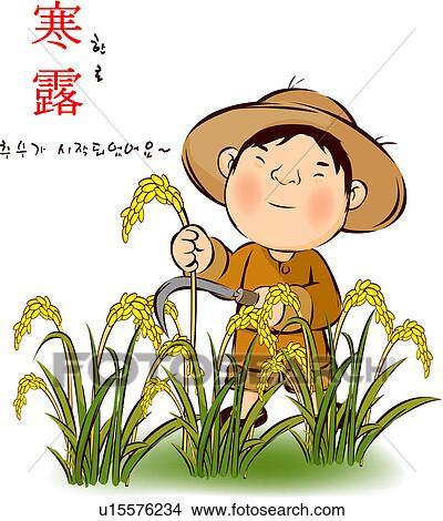 Resultado de imaxes para rice harvest drawing
