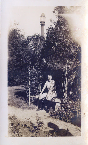 One woman with street lamp