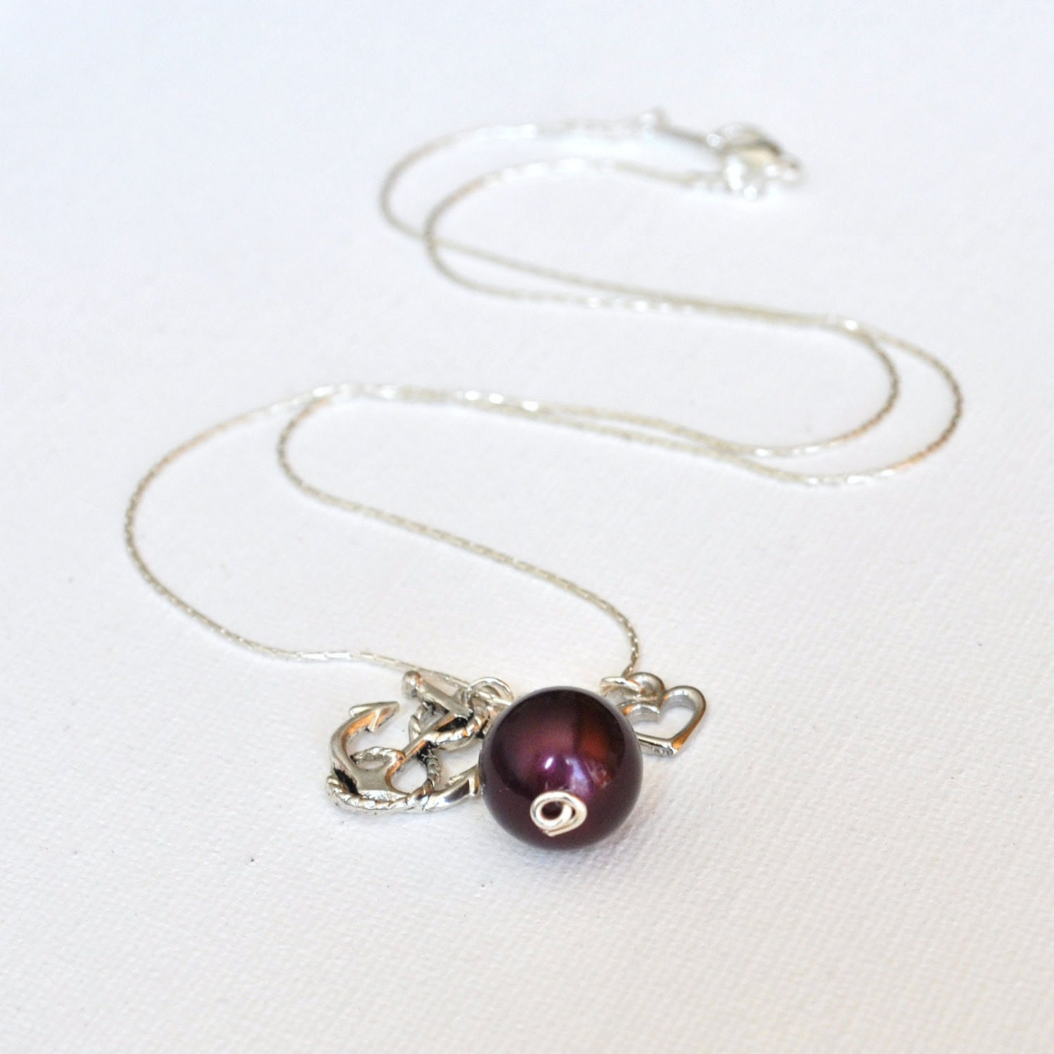 Anchor, Burgundy Pearl, and Heart - A Sailor's Love Necklace