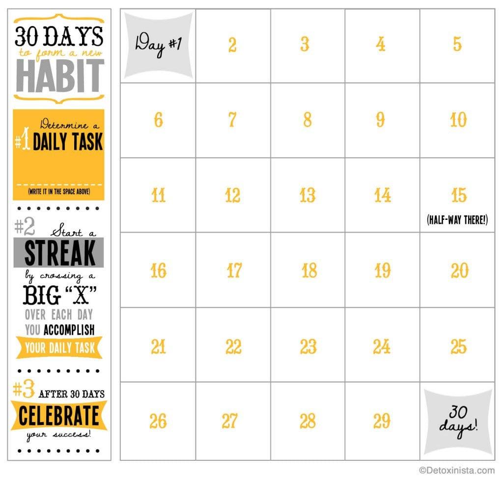30-Day Printable Calendar | Detoxinista