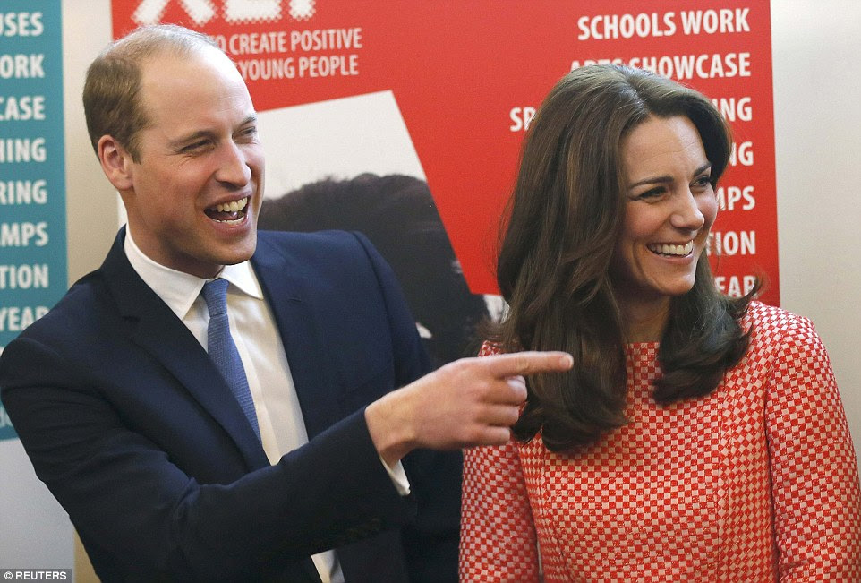 William playfully points during the visit to an XLP project in London which saw him receive a request to do some rapping from youngsters