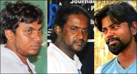 [L-R] Journalists Vinojith Tharmapalan, Piratheepan Thampithurai and Mayurathan Sreeramachandran