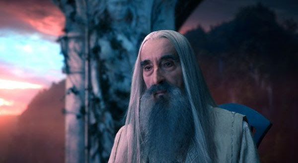 Saruman the White (Christopher Lee) is not yet a treacherous wizard in THE HOBBIT: AN UNEXPECTED JOURNEY.