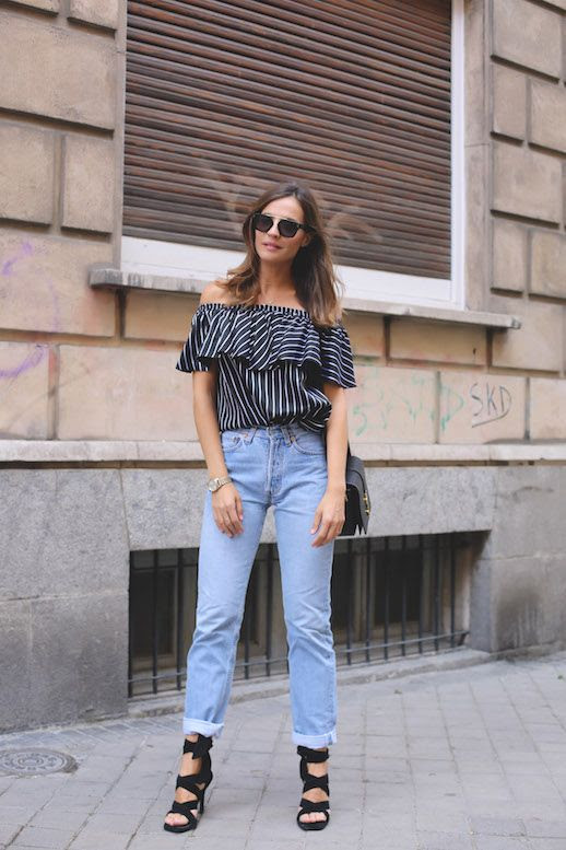 Le Fashion Blog Blogger Style Off Shoulder Shirt Mom Denim Strappy Heels Via Style Lovely