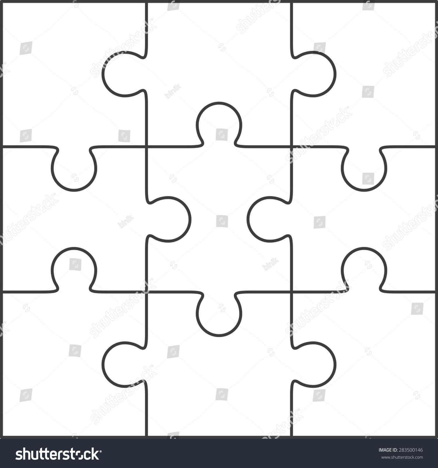 Jigsaw Puzzle Vector Blank Simple Template Stock Vector 283500146 ...