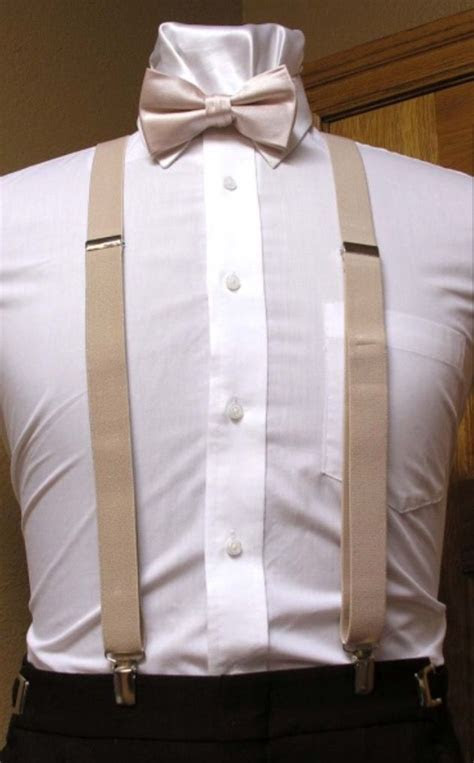 Champagne Suspenders and Bow Tie  Tuxedo Warehouse