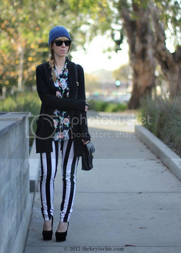 Motel striped Jordan jeans, vintage Escada blouse, vintage Coach bag, platform pumps, southern California street style, Los Angeles fashion blog