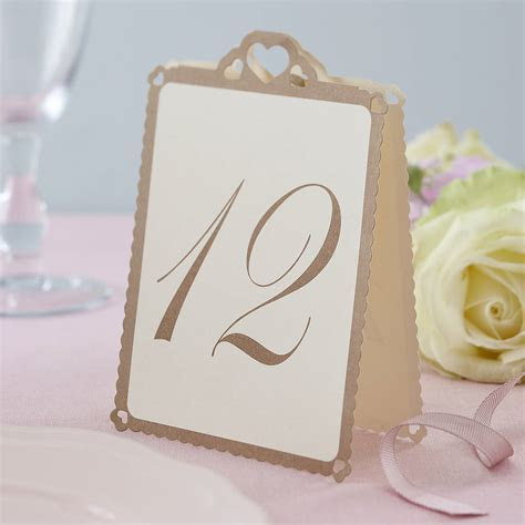 heart wedding table numbers ivory / gold by ginger ray