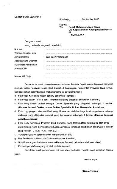 info tes cpns contoh surat lamaran cpns 2014