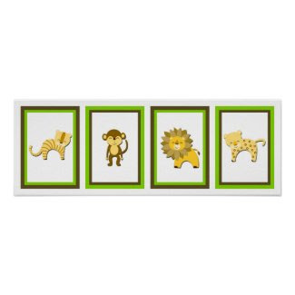 5X7 Jungle Animal Wall Art Collection Poster