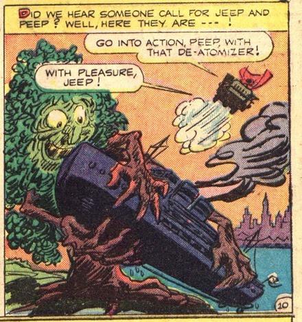Giant cartoon tree grabs ship